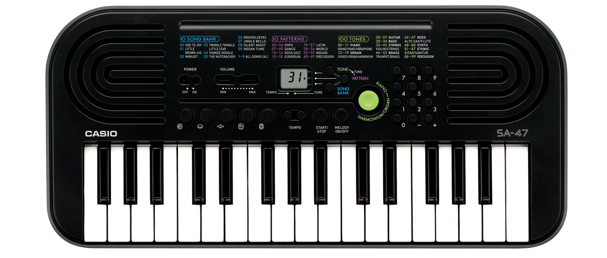 Đàn Organ mini Casio SA 47 giá rẻ 1.100.000 vnd phù hợp cho những bé lớp mầm, giúp bé tiếp xúc với âm nhạc.